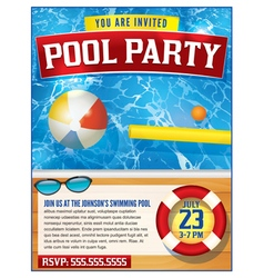 Pool Party Invitation Template vector image