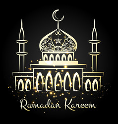 ramadan kareem night mosque with lights vector image vector image
