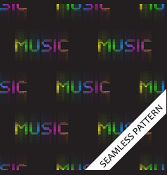 Seamless pattern with the word music with glowing vector