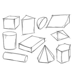 set of sketchy 3d geometrical shapes vector image