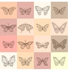 Set with different butterflies Contour vintage vector image