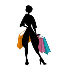 Silhouette of woman with different colored vector
