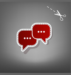 Speech bubbles sign red icon with for vector