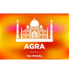 sunrise agra Taj Mahal india orange vector image