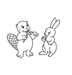 the beaver and the hare are brushing their teeth vector image