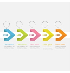 Timeline infographic ribbon arrow circle text Flat vector image
