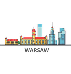 warsaw city skyline buildings streets vector image