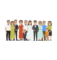 Wedding guests group portrait flat concept vector