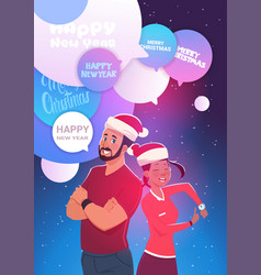 winter holiday celebration poster with happy man vector image