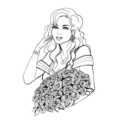 Woman holding a beautiful flower vector