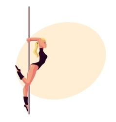 Young woman in black leotard standing at the pole vector