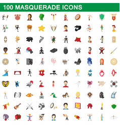 100 masquerade icons set cartoon style vector image