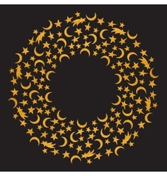 Gold textured space round frame vector