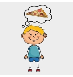 boy pizza food speak vector image