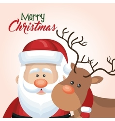 Santa claus reindeer christmas isolated vector