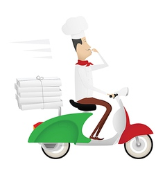 Funny chef delivering pizza on moped vector image