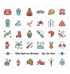 Winter sport outline icons recreation and fun vector