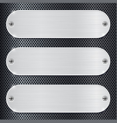 Oval metal plate on perforated background vector