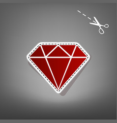 Diamond sign   red icon with vector