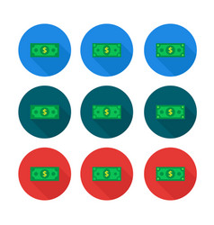 cash icon set in flat style dollar banknote green vector image
