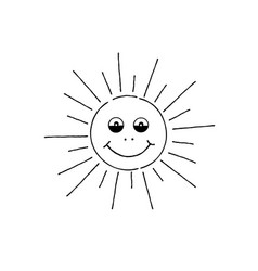 Smiling sun cartoon summer holiday sign happy vector