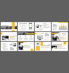 Yellow and white element for slide infographic on vector