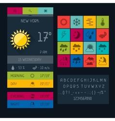 Weather widget in flat design style vector