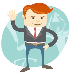 Office man waving in front of his working place vector