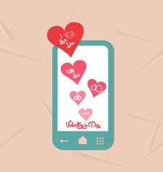 Valentine day with phone message of love vector
