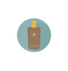 Flat icon bottle with sunscreen creme for safe tan vector