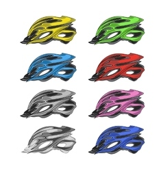 Set of colorful bike helmets vector