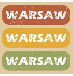 Vintage warsaw stamp set vector