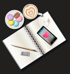 Booklet and smart phone with latte and macacaroons vector