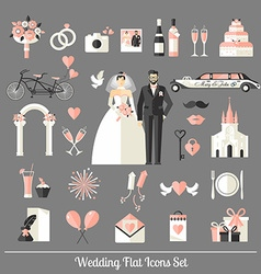 Wedding symbols set vector