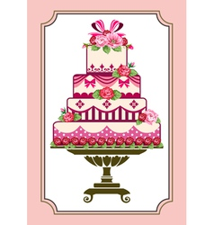 cake with roses vector image
