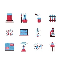 Flat style chemistry colored icons vector