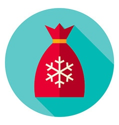 Flat design christmas santa bag circle icon vector