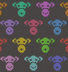 Knitted seamless pattern with monkey faces vector