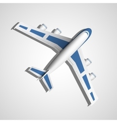 Blue airplane top view vector
