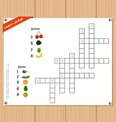 Crossword education game for children about fruits vector