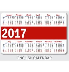 English pocket calendar for 2017 vector
