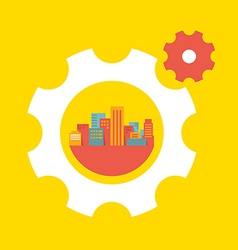 a large city in the gears vector image vector image