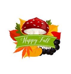 autumn season symbol with leaf and mushroom vector image vector image