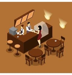 Barista serving customer isometric brown poster vector