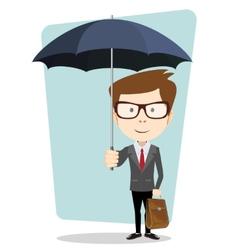 Businessman hiding from the rain under an umbrella vector