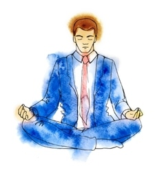 Businessman meditating watercolor vector image vector image