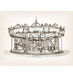 Children carousel sketch style vector