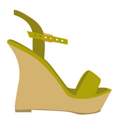 color silhouette of green sandal shoe with vector image vector image