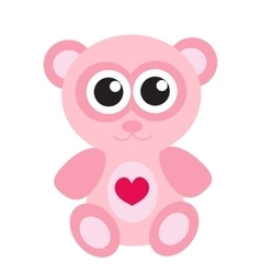 Cute pink teddy bear icon flat design isolated vector