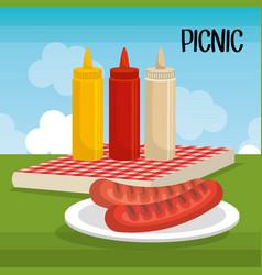 Delicious picnic scene icons vector
